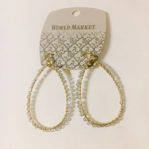 World Market Beaded Dangle Hoop Earrings